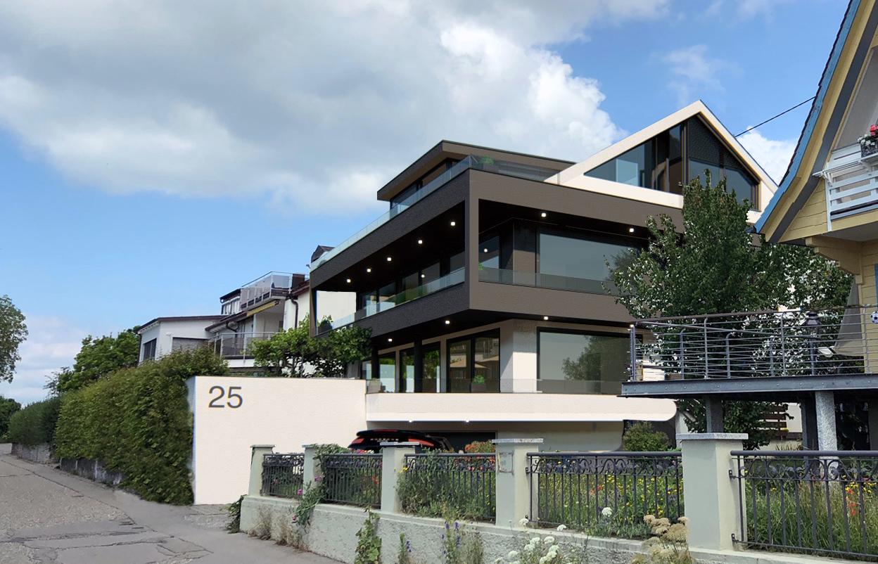 Design-Mehrfamilienhaus mit See- und Alpensicht